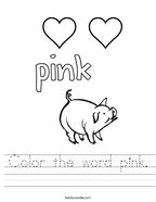 Color the word pink Handwriting Sheet