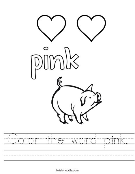 Color the word pink worksheet twisty noodle for Color pink coloring pages