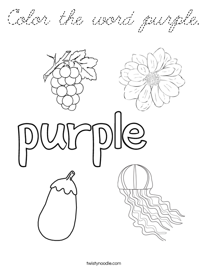 the word gerbil coloring pages | Color the word purple Coloring Page - Cursive - Twisty Noodle