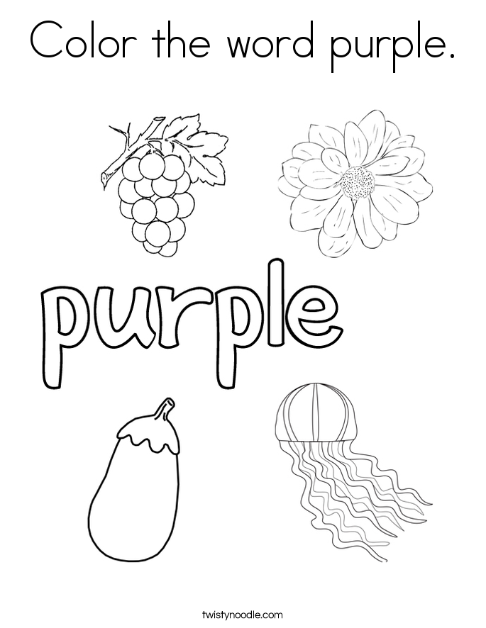 Color the word purple coloring page twisty noodle for Color word coloring pages