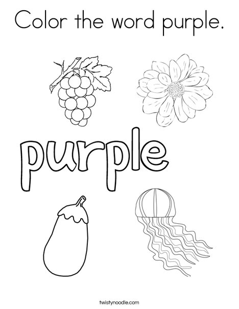 color the word purple coloring page print this