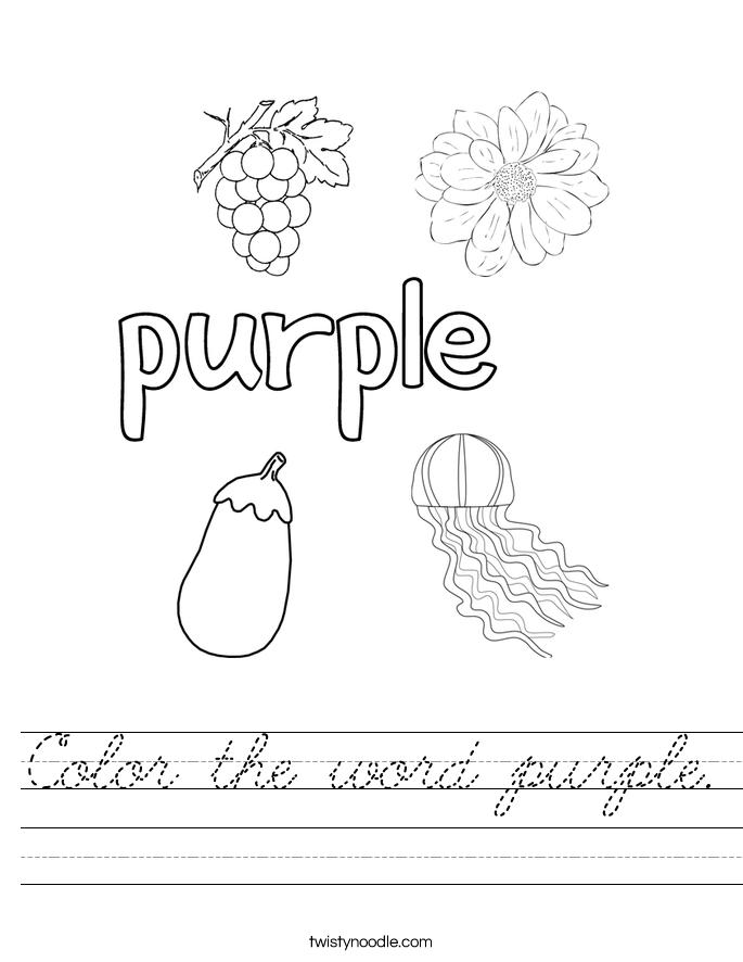 Color the word purple. Worksheet