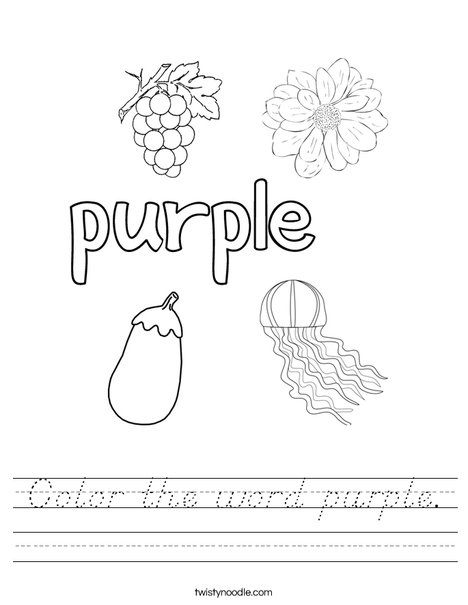 Color the word purple Worksheet