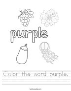 Color the word purple Handwriting Sheet