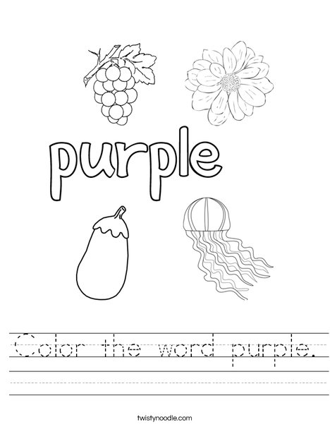 Color the word purple Worksheet