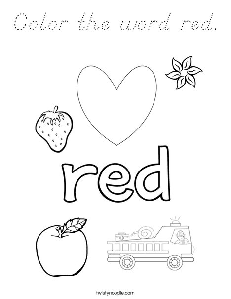 Color the word red. Coloring Page