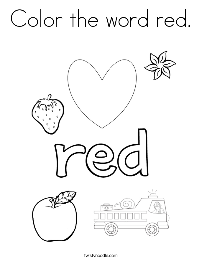 Color the word red Coloring Page Twisty Noodle