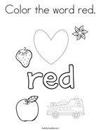 Color the word red Coloring Page