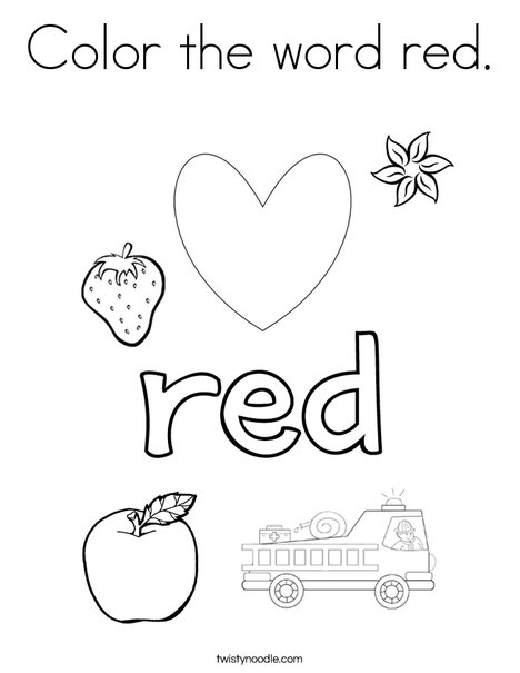 Color the word red coloring page twisty noodle for Color pink coloring pages