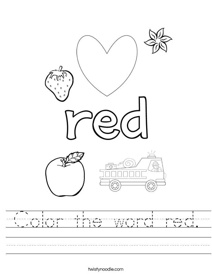 Printable Worksheets color by word worksheets : Color the word red Worksheet - Twisty Noodle