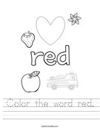 Color the word red Handwriting Sheet