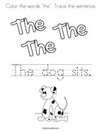 "Color the words ""the"" Trace the sentence Coloring Page"