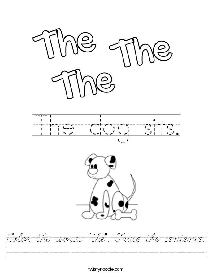 """Color the words """"the"""". Trace the sentence. Worksheet"""