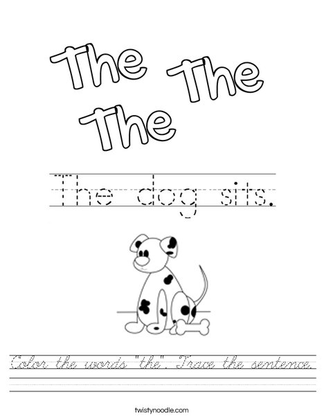 Color the word the. Trace the sentence. Worksheet