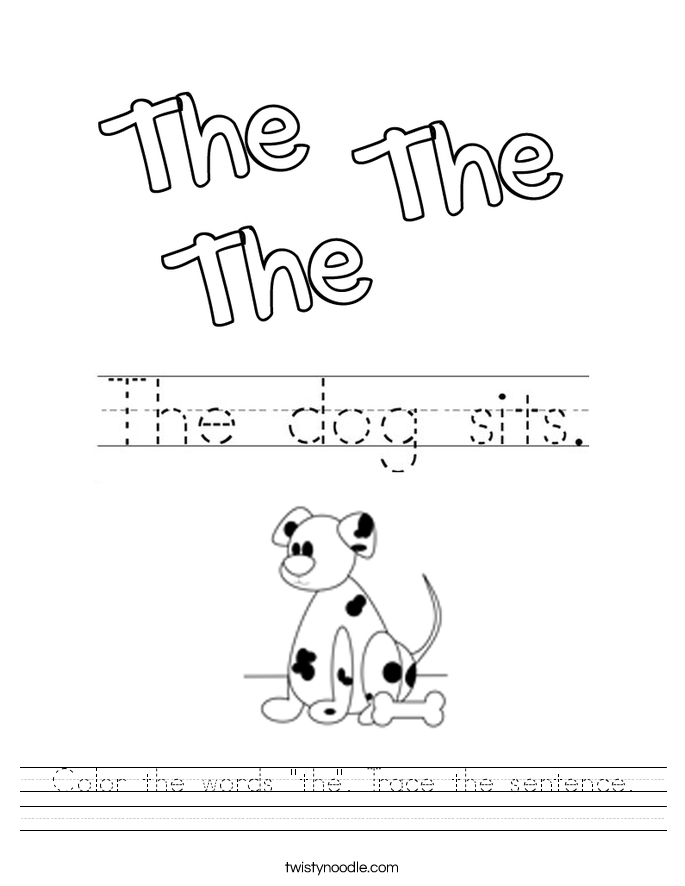 "Color the words ""the"". Trace the sentence. Worksheet"