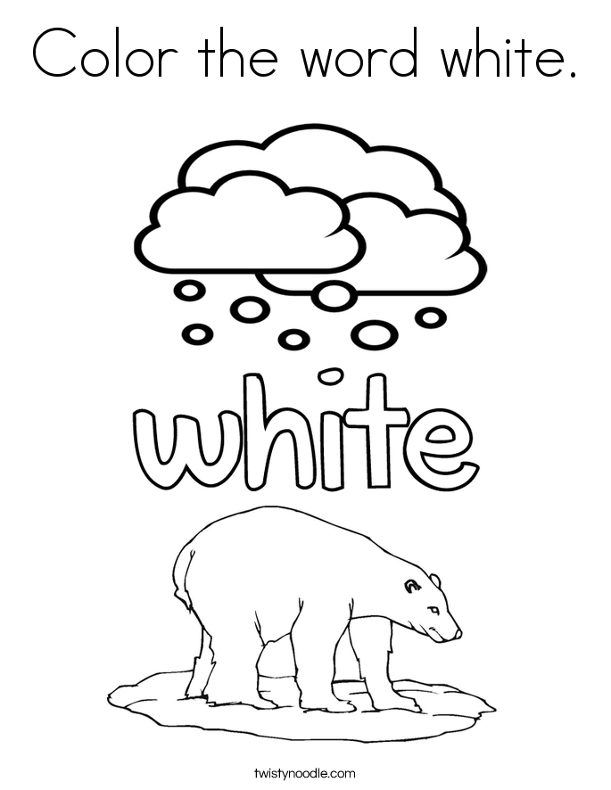 Color the word white coloring page twisty noodle for Color word coloring pages