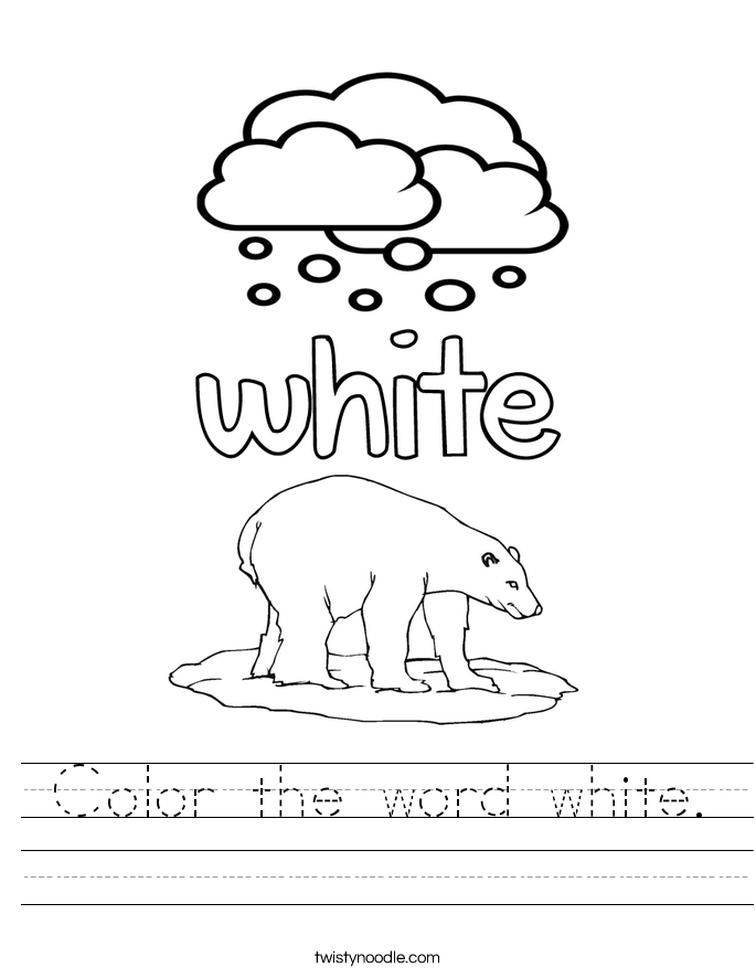Color the word white. Worksheet