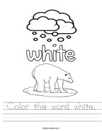 Color the word white Handwriting Sheet