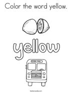 Color the word yellow Coloring Page