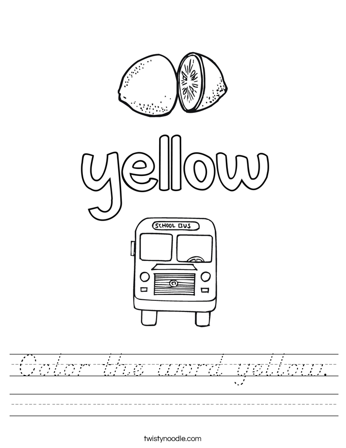 Color the word yellow. Worksheet