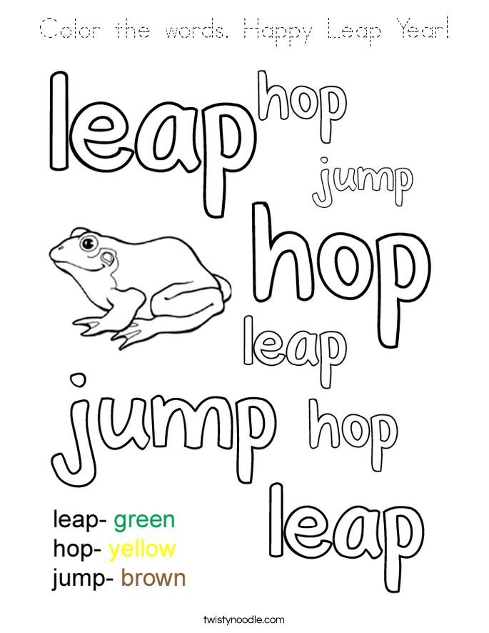 Color the words Happy Leap Year Coloring Page - Tracing ...