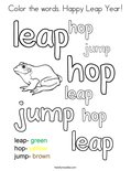 Color the words. Happy Leap Year! Coloring Page