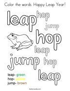 Color the words Happy Leap Year Coloring Page