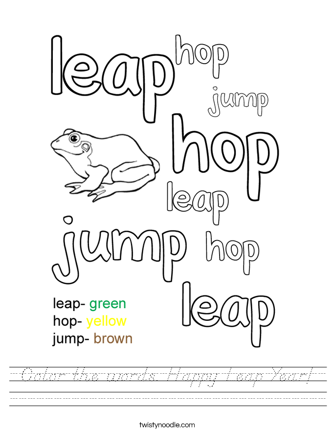 Color the words. Happy Leap Year! Worksheet