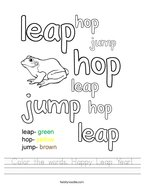 Color the words Happy Leap Year Handwriting Sheet