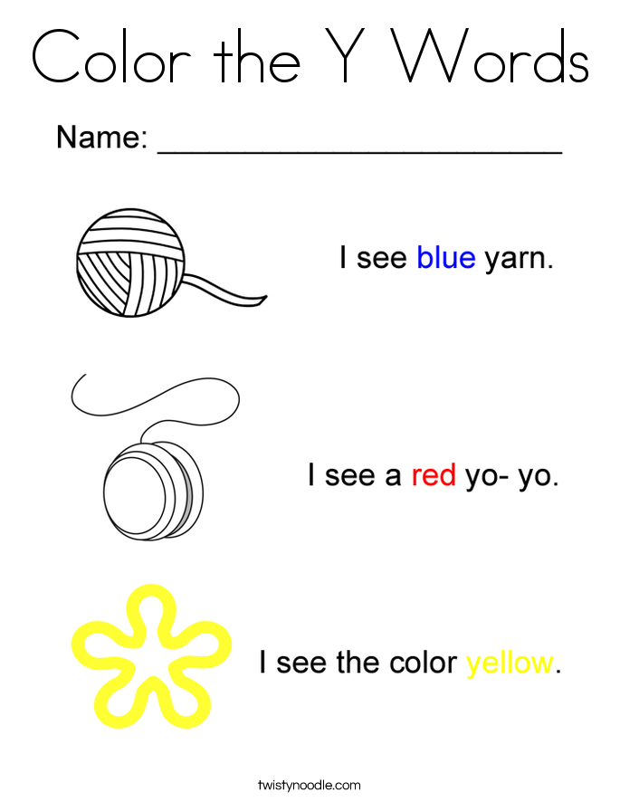 Color the Y Words Coloring Page - Twisty Noodle