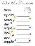Color Word Scramble Coloring Page
