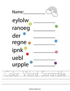 Color Word Scramble Handwriting Sheet