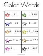 Color Words Coloring Page