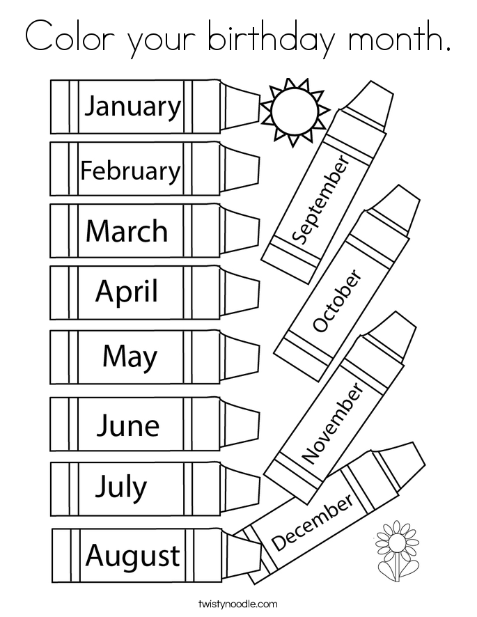 Color your birthday month. Coloring Page
