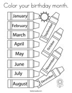 Color your birthday month Coloring Page