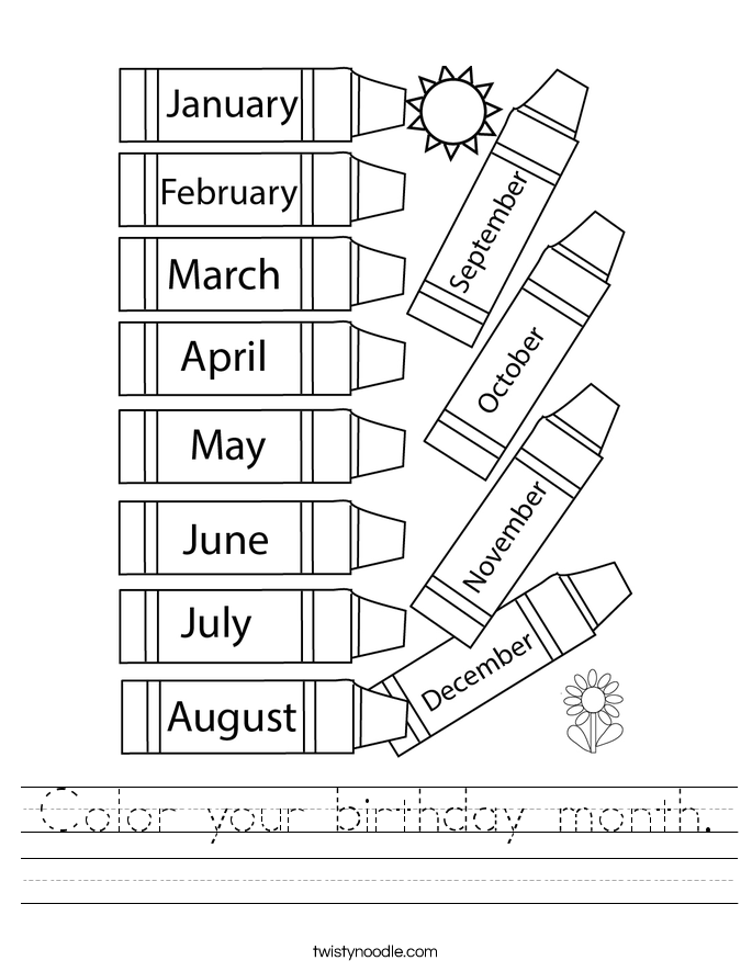 Color your birthday month. Worksheet