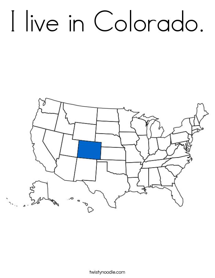 I live in Colorado. Coloring Page