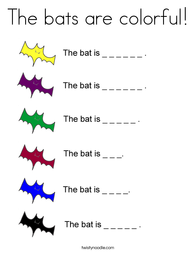 The bats are colorful! Coloring Page