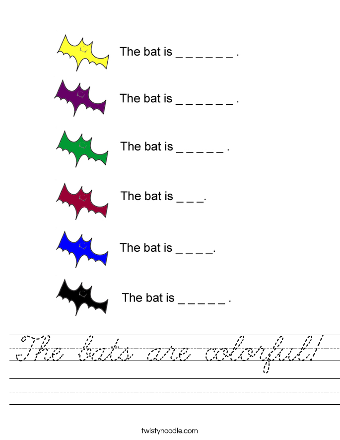 The bats are colorful! Worksheet