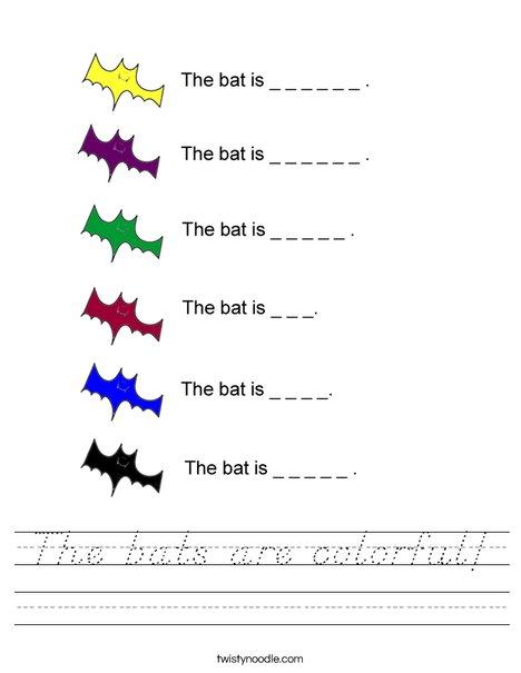 Colorful Bats Worksheet