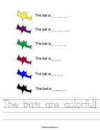 The bats are colorful Handwriting Sheet