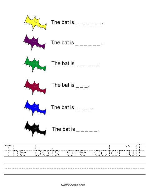 Colorful Bats Worksheet