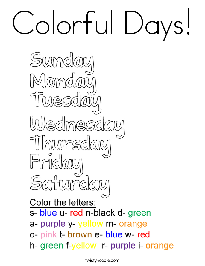 days of the week coloring pages - colorful days coloring page twisty noodle