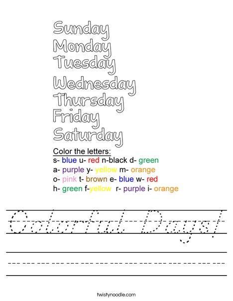 Colorful Days! Worksheet