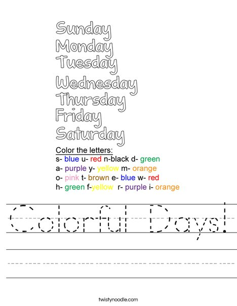 Colorful Days! Worksheet