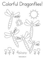 Colorful Dragonflies Coloring Page
