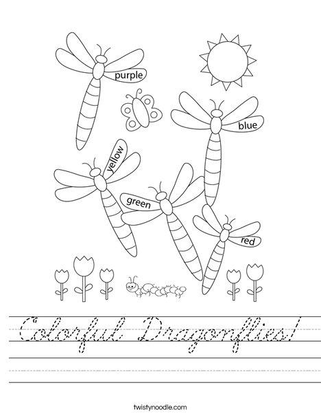 Colorful Dragonflies Worksheet