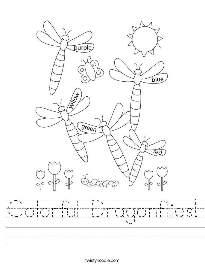 Colorful Dragonflies! Worksheet