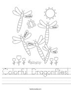 Colorful Dragonflies Handwriting Sheet