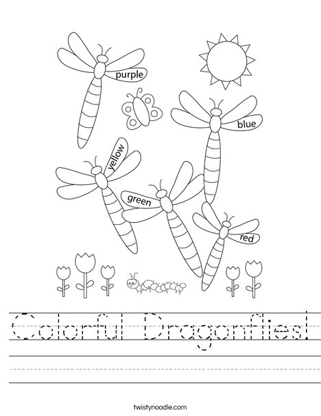 Colorful Dragonflies Worksheet